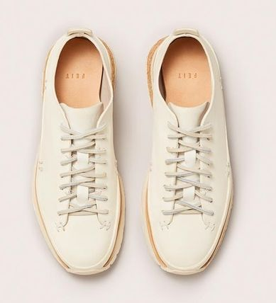Rubber Sole Casual Style Plain Leather Low-Top Sneakers