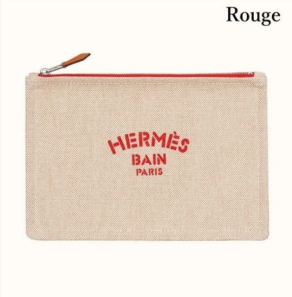 HERMES Yachting Canvas Logo Pouches & Cosmetic Bags