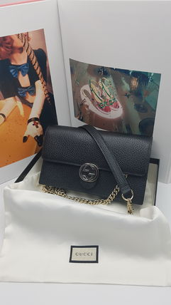 GUCCI GG Marmont Zigzag Casual Style Chain Plain Leather Party Style