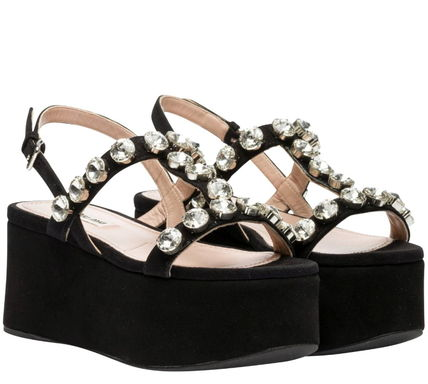 MiuMiu Open Toe Platform Suede Plain With Jewels