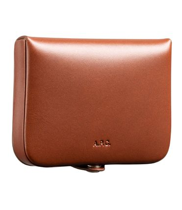 Unisex Plain Leather Folding Wallet Coin Cases