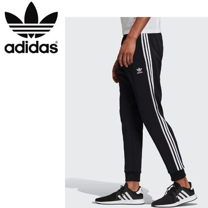 adidas Printed Pants Stripes Casual Style Unisex Street Style Long