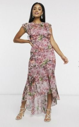 Crew Neck Flower Patterns Maxi Long Elegant Style Dresses