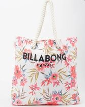 Billabong Flower Patterns Casual Style Canvas Logo Totes