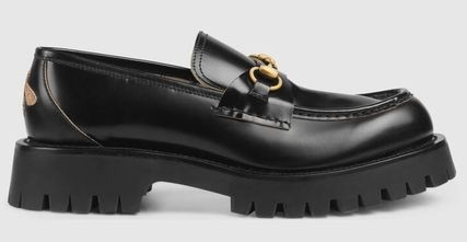 GUCCI Leather Lug Sole Horsebit Loafer