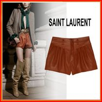 Saint Laurent Short Casual Style Leather Leather & Faux Leather Shorts