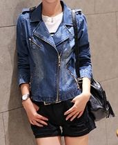 Short Casual Style Denim Plain Denim Jackets Varsity Jackets