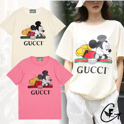 GUCCI Street Style Collaboration Cotton Short Sleeves Oversized