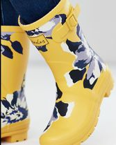 Joules Clothing Flower Patterns Street Style Plain Logo Flat Boots