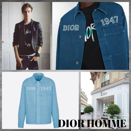 DIOR HOMME Shirts Button-down Denim Street Style Long Sleeves Logo Shirts