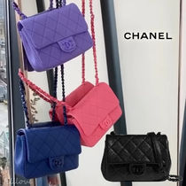 CHANEL Casual Style Calfskin Chain Plain Handmade Party Style