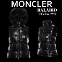 MONCLER Casual Style Nylon Fur Plain Medium Fur Vests Elegant Style