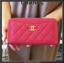 CHANEL ICON Calfskin Plain Leather Long Wallet  Logo Long Wallets