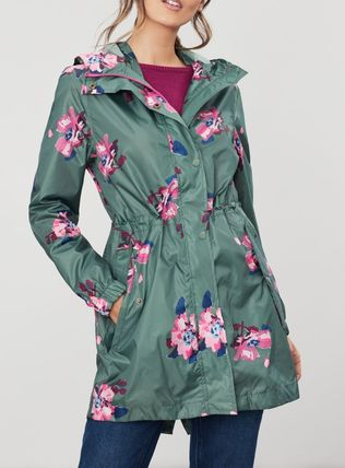 Flower Patterns Street Style Plain Nylon Jacket