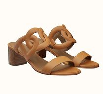HERMES Open Toe Casual Style Plain Leather Block Heels Party Style