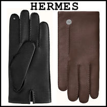 HERMES Unisex Cashmere Plain Leather Logo