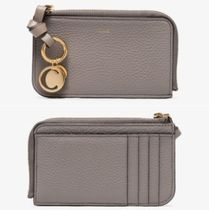 Chloe ALPHABET Plain Leather Logo Coin Cases