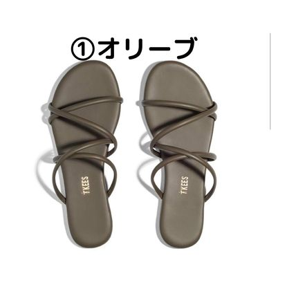 Stripes Open Toe Rubber Sole Casual Style Plain Leather