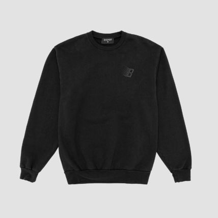 Crew Neck Pullovers Long Sleeves Plain Cotton Logo