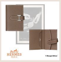 HERMES Bearn Leather Small Wallet Folding Wallets