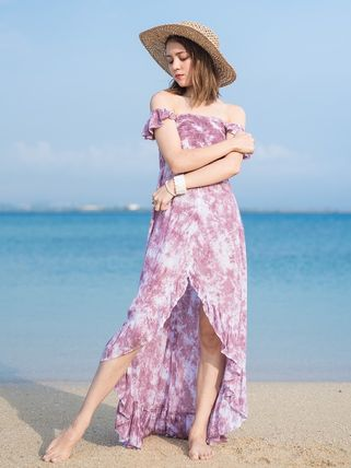 Wrap Dresses Maxi Flared Tie-dye Long Dresses