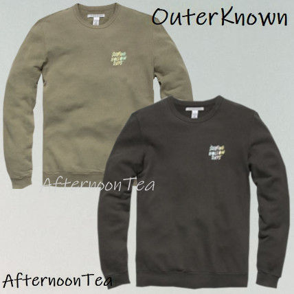 Ron Herman Sweatshirts Crew Neck Pullovers Long Sleeves Plain Handmade Surf Style