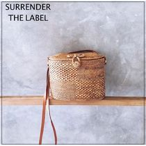 SURRENDER THE LABEL Plain Leather Crossbody Straw Bags