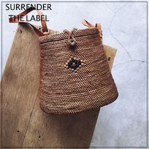 SURRENDER THE LABEL Flower Patterns Plain Leather Crossbody Straw Bags