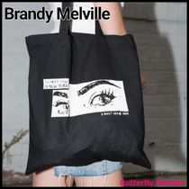 Brandy Melville Casual Style Street Style A4 Plain Office Style Logo Totes