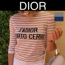 Christian Dior Crew Neck Stripes Casual Style Silk Street Style Cropped