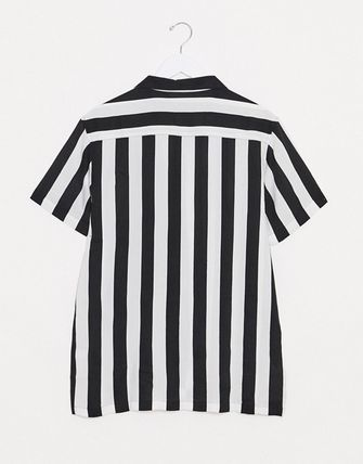 Stripes Street Style Bi-color Short Sleeves Shirts