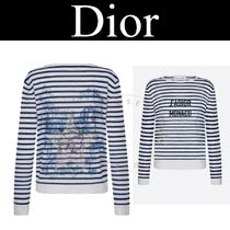 Christian Dior Stripes Star Casual Style Cashmere Silk Linen Street Style