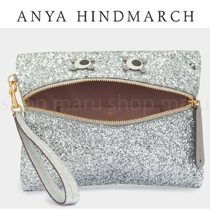 Leather Glitter Pouches & Cosmetic Bags