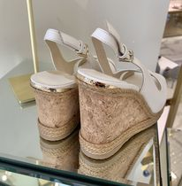 Jimmy Choo Plain Leather Elegant Style Sandals