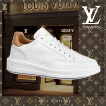 Louis Vuitton MONOGRAM Monogram Unisex Street Style Bi-color Leather Logo Sneakers