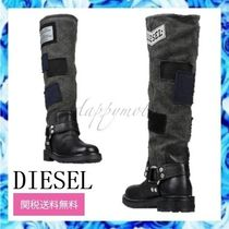 DIESEL Round Toe Casual Style Street Style Logo Mid Heel Boots