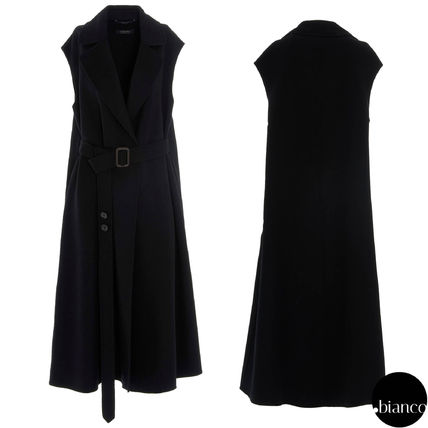 Wool Plain Long Elegant Style Vest Jackets