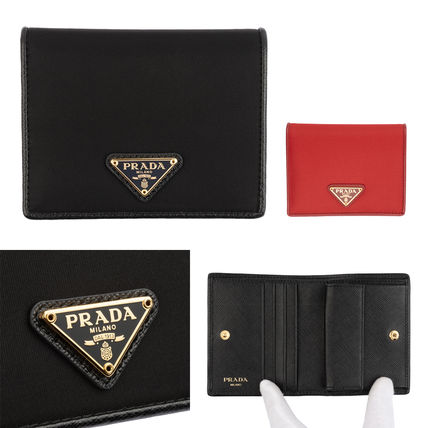 PRADA Logo Unisex Folding Wallets