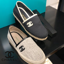 CHANEL ICON Tweed Plain Logo Flats