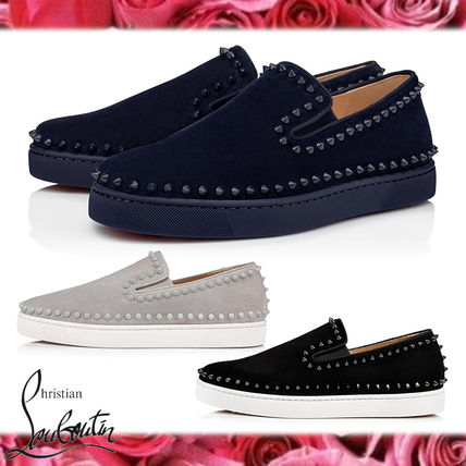 Christian Louboutin PIK BOAT Suede Studded Plain Logo Loafers & Slip-ons