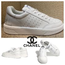CHANEL SPORTS Round Toe Casual Style Unisex Plain Leather Logo