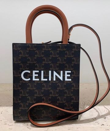 CELINE Triomphe Canvas Monogram Casual Style Calfskin Canvas 3WAY Leather