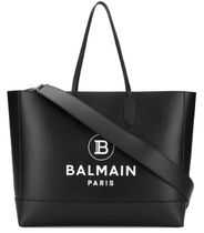 BALMAIN A4 2WAY Plain Leather Crossbody Logo Totes