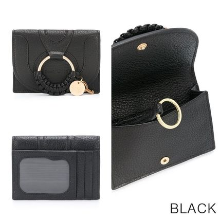 Street Style Plain Leather Folding Wallet Small Wallet Logo