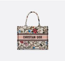 Christian Dior BOOK TOTE Flower Patterns Casual Style Plain Logo Totes