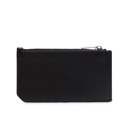 Unisex Plain Leather Logo Card Holders