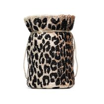 Ganni Leopard Patterns Casual Style Purses Bucket Bags
