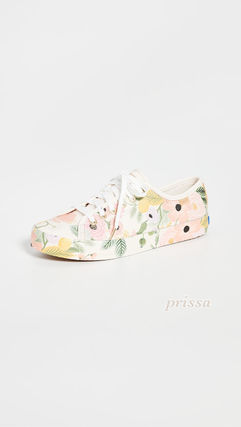 Flower Patterns Round Toe Rubber Sole Casual Style Leather