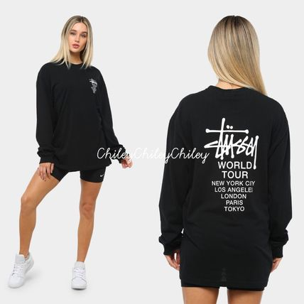 STUSSY Crew Neck Unisex Street Style Long Sleeves Cotton Medium