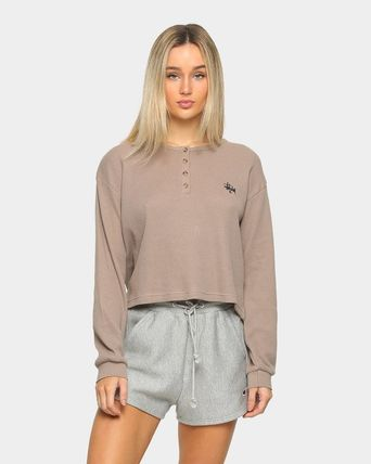 STUSSY Crew Neck Short Street Style Long Sleeves Plain Cotton